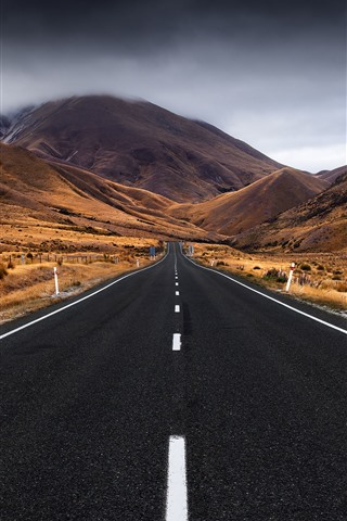 iPhone Wallpaper New Zealand, South island, road, mountains, storm