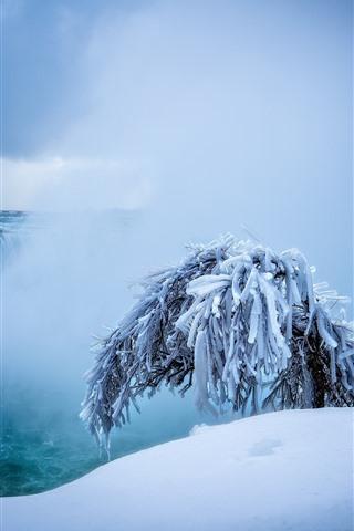 iPhone Wallpaper Niagara falls, waterfalls, snow, tree, winter