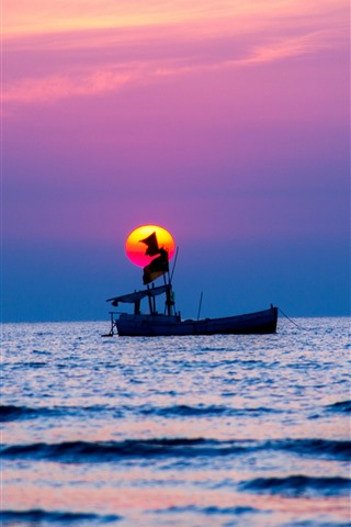 iPhone Wallpaper One boat, sea, sunset