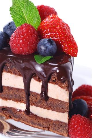iPhone Wallpaper One slice cake, chocolate, strawberry, blueberry, white background