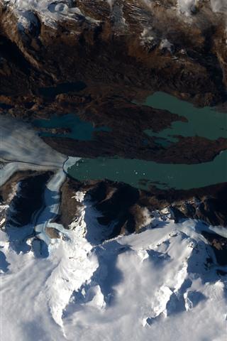 iPhone Fond d'écran Patagonie, neige, terre, vue depuis l'espace