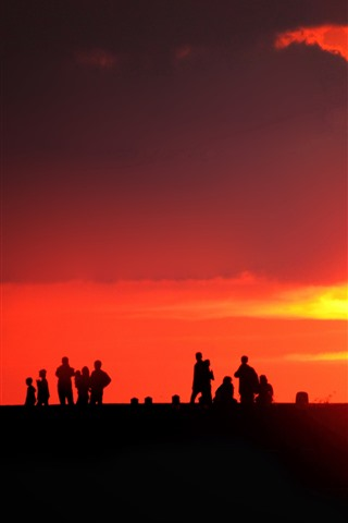 iPhone Wallpaper People, silhouette, sunset, sun, red sky
