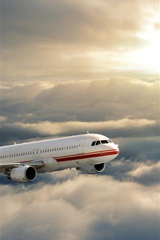 iPhone Wallpaper Plane, flight, sky, sun, clouds