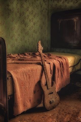 iPhone Обои Комната, кровать, стул, гитара, интерьер