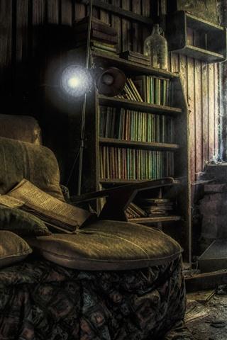iPhone Wallpaper Room, books, sofa, windows, dust, ruins
