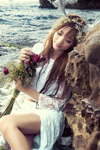 iPhone Wallpaper Sea, coast, rock, girl, white skirt, roses