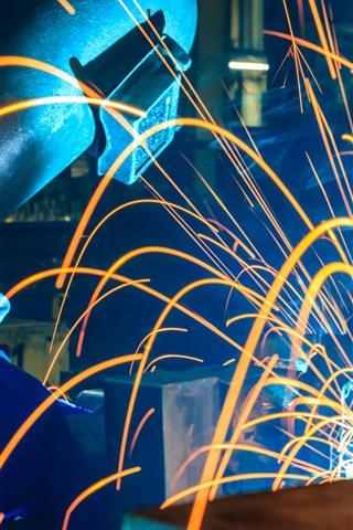 iPhone Wallpaper Sparks, worker, welder