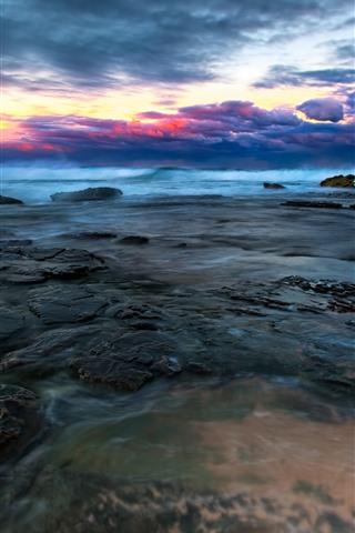 iPhone Wallpaper Stones, coast, sea, sky, clouds, sunset, dusk