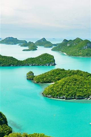 iPhone Wallpaper Thailand, Phuket, blue sea, boats, islands