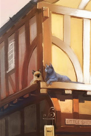 iPhone Wallpaper Two cats, houses, city, art painting