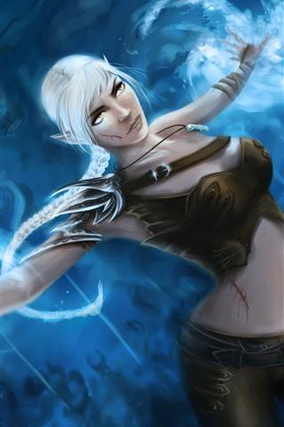 iPhone Wallpaper White hair fantasy girl, magic, art picture