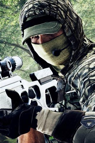 iPhone Papéis de Parede Battlefield 4, Sniper, Soldado, Máscara