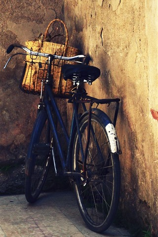 iPhone Wallpaper Bike, basket, door, wall