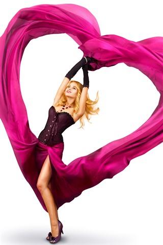 iPhone Wallpaper Blonde girl, pink love heart, skirt, white background