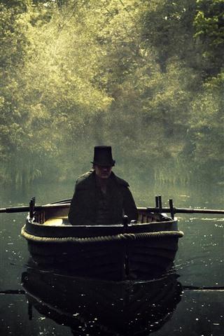 iPhone Wallpaper Boat, man, river, fog, trees