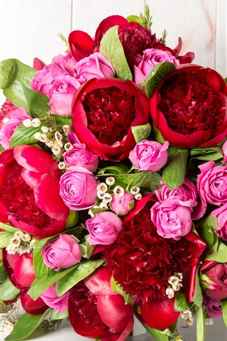 iPhone Wallpaper Bouquet, flowers, pink roses, red peonies