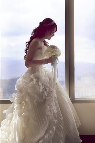 iPhone Wallpaper Bride, white skirt, window