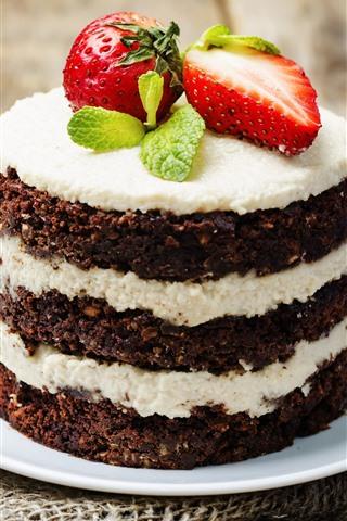 iPhone Wallpaper Chocolate cake, strawberry, dessert