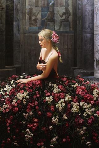 iPhoneの壁紙 クリエイティブデザイン、ブロンドの女の子、花のスカート