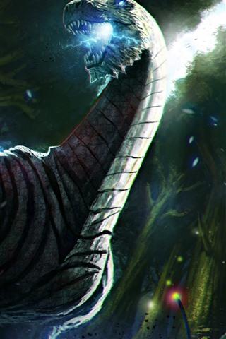 iPhone Обои Дракон, воин, меч, война, художественная картина