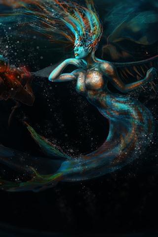iPhone Papéis de Parede Menina fantasia, sereia, cauda, mergulho, arte imagem