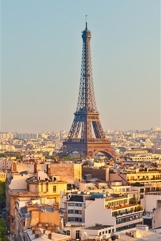 iPhone Wallpaper France, Paris, Eiffel Tower, city, houses, trees, road