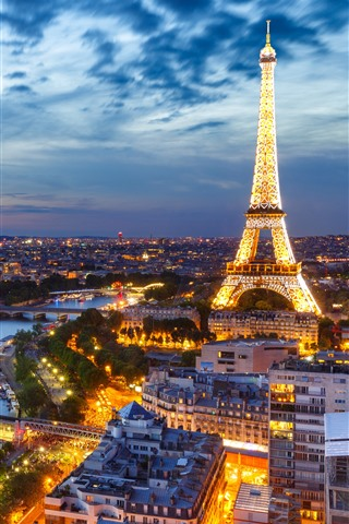 iPhone Wallpaper France, Paris, Eiffel Tower, night, lights, city, river