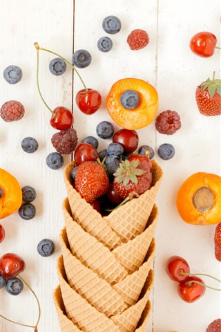 iPhone Wallpaper Fruits, berries, wafer, cherry, blueberry, strawberry