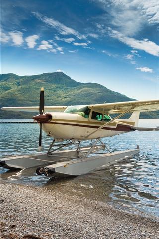 iPhone Wallpaper Hydroplane, plane, wings, lake, lakeshore, mountains