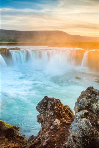 iPhone Wallpaper Iceland, waterfalls, rocks, sunrise, dawn