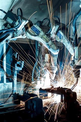 iPhone Wallpaper Industrial robot, machine, precision, sparks, welder