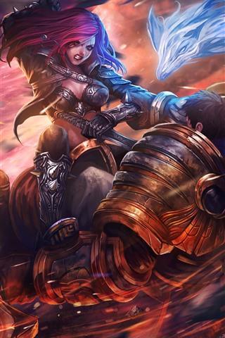 iPhone Wallpaper League of Legends, pink hair girl, fight, war