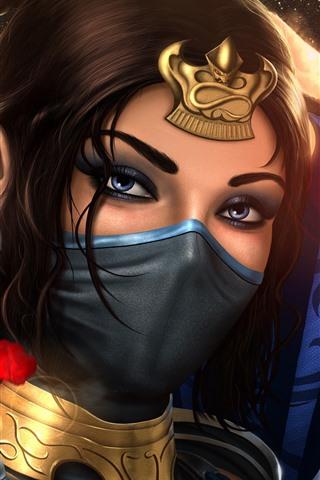 iPhone Papéis de Parede Mortal Kombat, Menina, Máscara, Imagem de Arte