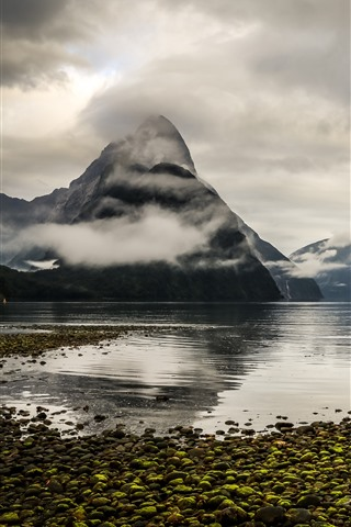 iPhone Wallpaper New Zealand, mountains, fjord, lake, fog, clouds, morning