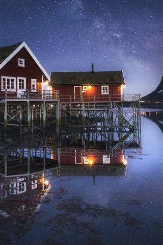 iPhone Fond d'écran Norvège, Nordland, Fjord, Nuit, Maisons, Stars, Montagne, Mer, Neige