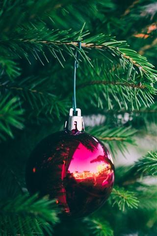 iPhone Wallpaper One red Christmas ball, fir twigs, needles