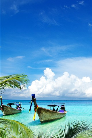 iPhone Wallpaper Palm trees, boats, sea, tropical, blue sky, white clouds