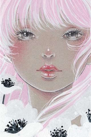 iPhone Обои Девушка с розовыми волосами, белые цветы, художественная роспись