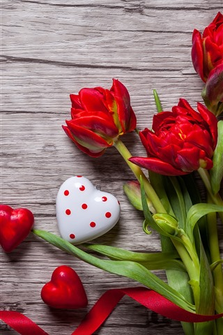 iPhone Wallpaper Red love heart and tulips, ribbon, romantic
