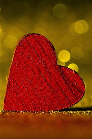 iPhone Wallpaper Red love heart, light circles, hazy