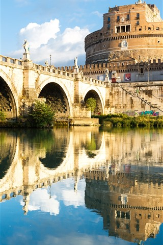 iPhone Wallpaper Rome, Italy, fortress, water reflection, bridge, river