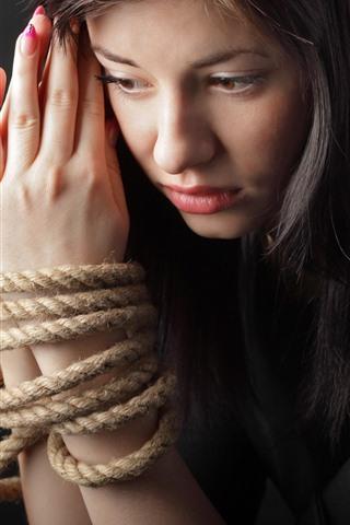 iPhone Wallpaper Sadness girl, hands, rope