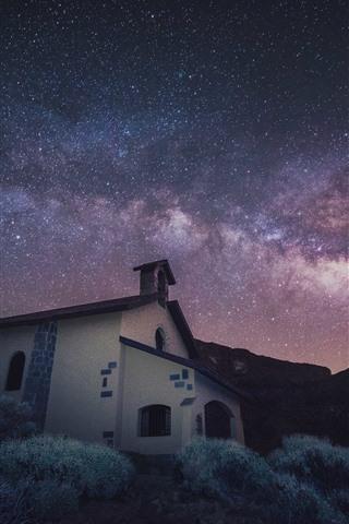 iPhone Hintergrundbilder Sterne, Kirche, Haus, Gras, Nacht, Raum