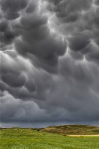 iPhone Wallpaper Storm, black clouds, fields, countryside