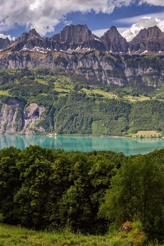 iPhone Wallpaper Switzerland, trees, mountains, lake, grass, cow