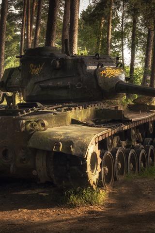iPhone Wallpaper Tank, trees, weapon, sunshine