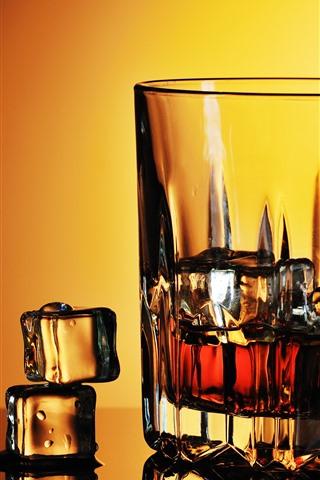 iPhone Обои Виски, стеклянная чашка, кубики льда