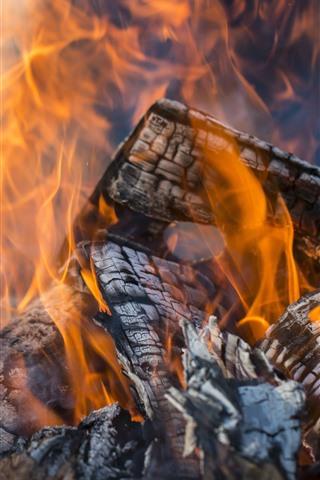 iPhone Wallpaper Wood, fire, firewood, flam