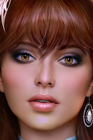 iPhone Обои Красивые карие глаза фантазия девушка, смотреть, лицо