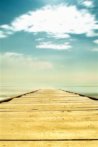 iPhone Обои Мост, море, пляж, небо, облака, тропические